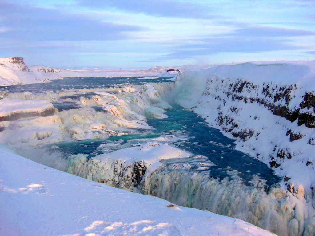 Gullfoss waterfall frozen