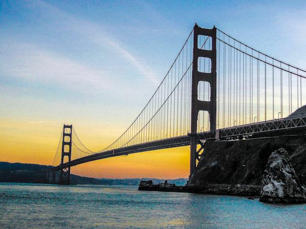 Sunset at Golden Gate bridge in San Francisco, USA