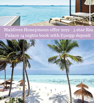Honeymoon Offer for 2022 Staying in the Maldives at Riu Palace 5*