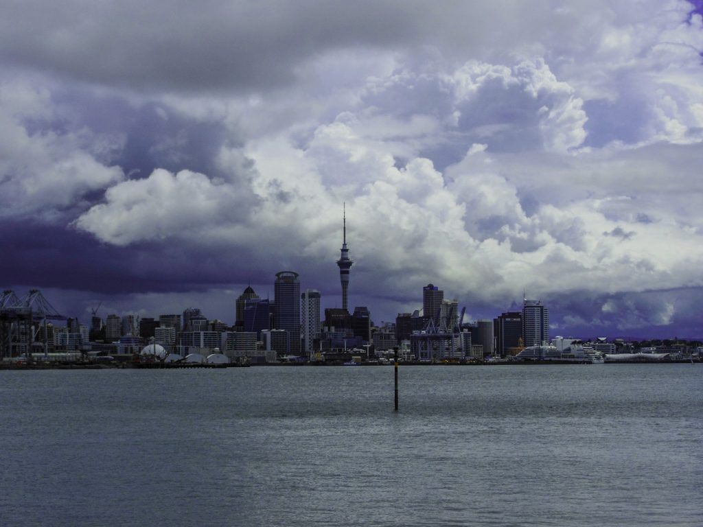 Auckland skyline during a stormy day