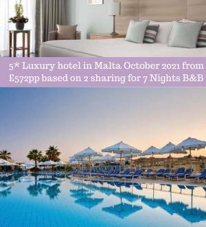 5* Luxury hotel in Malta October 2021 from £572pp based on 2 sharing for 7 Nights B&B